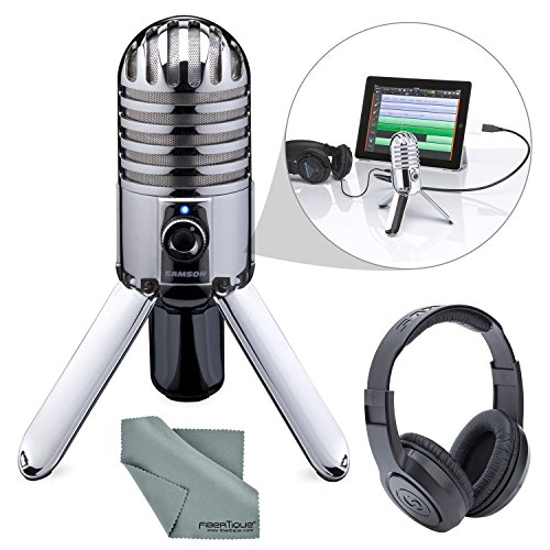 Samson Meteor Mic Studio USB Condenser Microphone and Headphones with Fibertique Cleaning cloth from Photo Savings