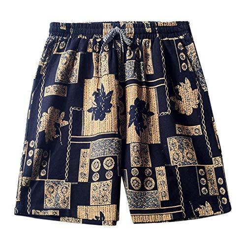 Men Summer Linen Quick Dry Casual Shorts Elastic Waist Drawstring Solid Shorts Gold