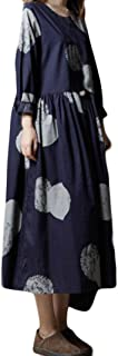 2018 Maxi Vestidos De Manga Larga Cuello Redondo Estampados Ropa Vestidos Moda Vintage Algodón Y Lino Suelta Vestido Largo Literario Vestido De Camisa