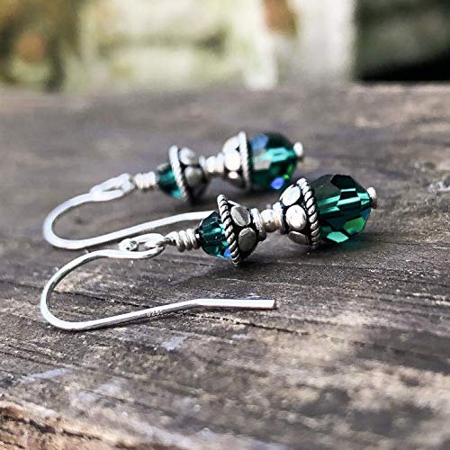 - Rustic Silver Green Beaded Earrings - Bali Silver Earrings - 3rd Anniversary Gift for Her - Crystal Jewelry by Simple Graces Jewelry