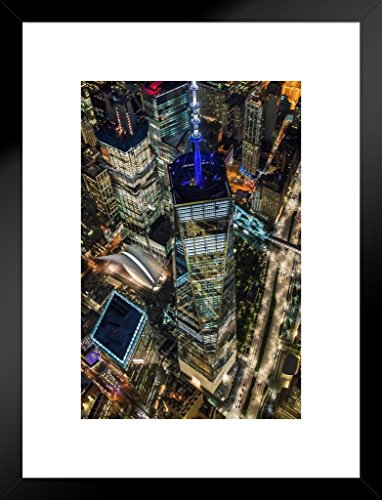 Poster Foundry World Trade Center Illuminated Aerial View NYC Photo Art Print Matted Framed Wall Art 20x26 inch