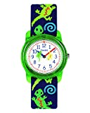 Timex Boys T72881 Time Machines Green Geckos Elastic Fabric Strap Watch