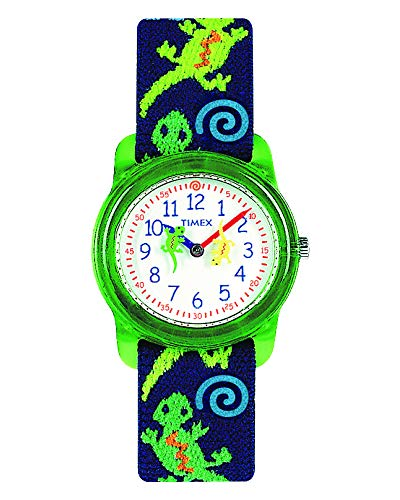 Timex Analog Youth Watch - Kidz Analog | Green Case w Blue Elastic Strap