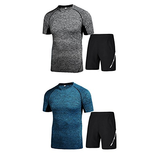 HaloVa Men's Running Clothing, Sports Fitness Men 2pcs Set Quick Dry Athletic Training T-Shirt Top & Shorts