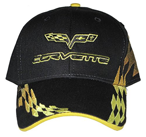Yellow Checkered Flag - Gregs Automotive Corvette C6 Yellow Checkered Flag Logo Hat Cap Chevrolet Bundle with Decal (2 Items) 1 Hat and 1 Driving Style Decal