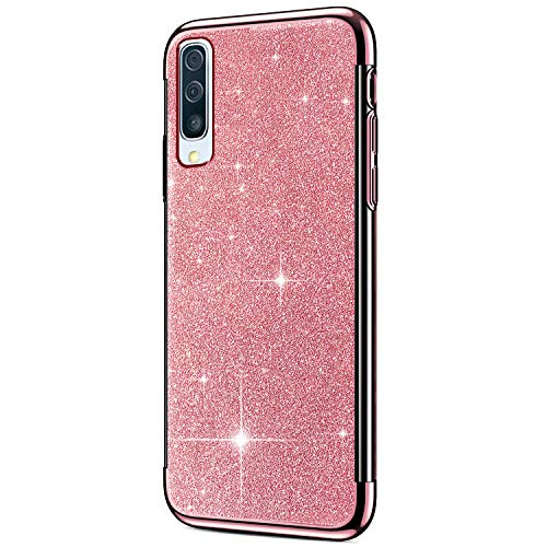 Price comparison product image ikasus Case for Galaxy A50 Case Girls Sparkly Shiny Glitter Bling Powder Diamond Paillette Card & Plating Bumper Slim Flexible Soft Rubber Gel TPU Protective Case Cover for Galaxy A50, Rose Gold
