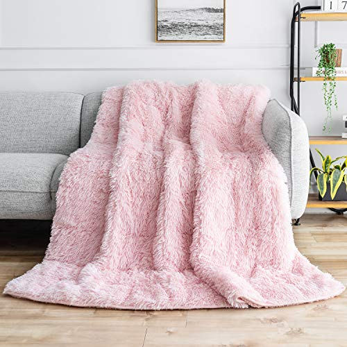 BUZIO Faux Fur Weighted Blanket 15lbs, Super Soft Plush Fleece and Cozy Sherpa Reverse, Shaggy Long Fur Throw Blankets…