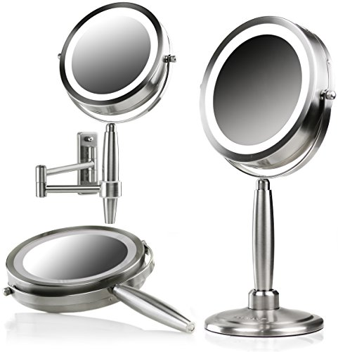 Ovente 3-in-1 Makeup Mirror (Tabletop, Wall-Mount, Handheld) with 3 SmartTouch Light Tones (Cool, Warm, Daylight), Cordless, 8.5 inch, 1x/5x Magnification, Nickel Brushed (MFM85BR1X5X) by Ovente