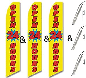Three (3) Pack Swooper Flags & Pole Kits Yellow Blue with Red Text OPEN 24 HOURS