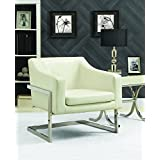 Coaster Contemporary White Faux Leather Upholstered Accent Chair with Chrome Base