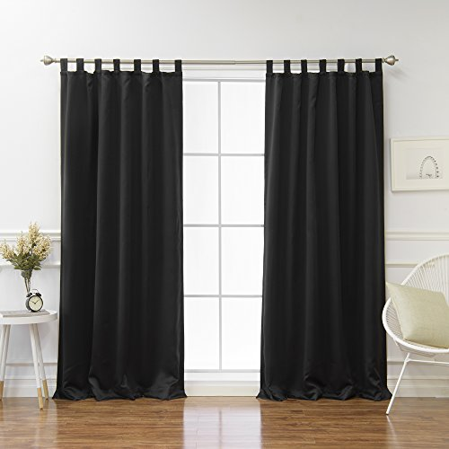 Best Home Fashion Tab Top Thermal Insulated Blackout Curtain – Tabtop – Black – 52