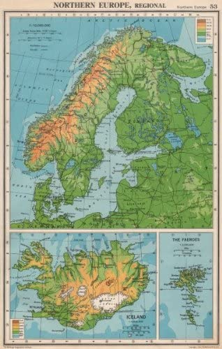 Cartina Norvegia Da Stampare.Antiqua Print Gallery Scandinavia Fisica Islanda Norvegia Svezia Danimarca Finlandia Bartolomeo 1952 Mappa Amazon It Casa E Cucina