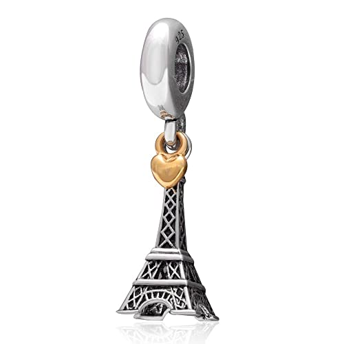8073fc9bc Amazon.com: SOUKISS Eiffel Tower Charms 925 Sterling Silver and 18K Gold  Heart Dangling Charm for European Bracelet Necklace: Jewelry