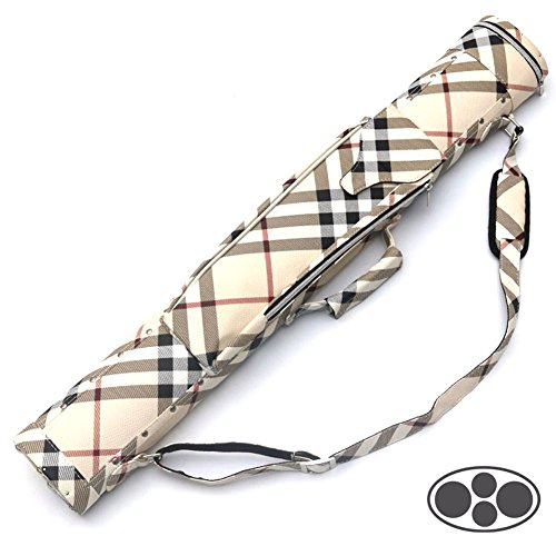 British Style Plaid 2x2 Hard Pool Cue Billiard Stick Carrying Case - 2 Butts/2 Shafts