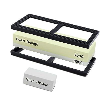 SueH Design Piedra de Afilar Cuchillos de Doble Cara I Grano 4000/8000 de Doble Cara I con Piedra de Limpieza y Almohadilla de Silicona Antideslizante