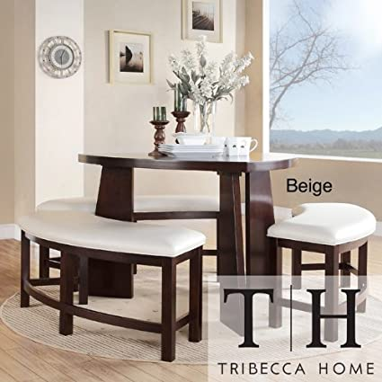 Dining Set 4 Piece Contemporary Triangle Shaped Wood Table And Bench White Dinnette Seats
