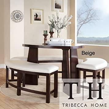 Amazoncom Dining Set 4 piece Contemporary Triangle Shaped Wood