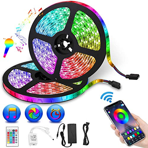 LED Strip Lights, Targherle 10M/32.8 Feet 300 LEDs Color Changing LED Light Strip 5050 RGB Rope Lights with Bluetooth Controller Sync to Music APP for Home Kitchen TV Holiday Party