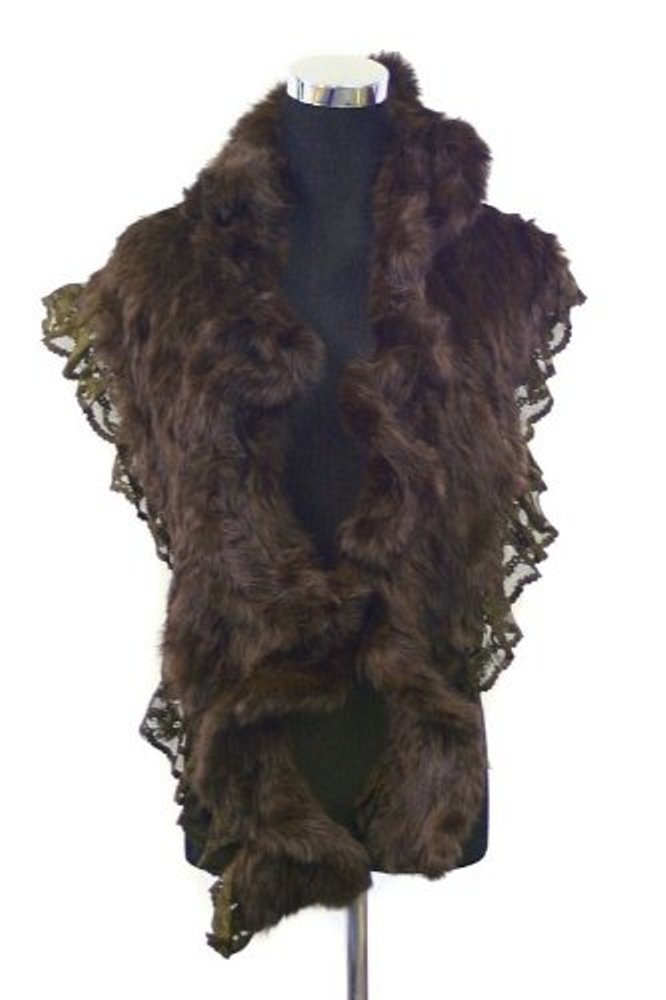 Bridal Wedding Angora Rabbit Fur Long Shrug Scarf Wrap with Lace Edge-dark Brown by Fur Scarf & Shawl