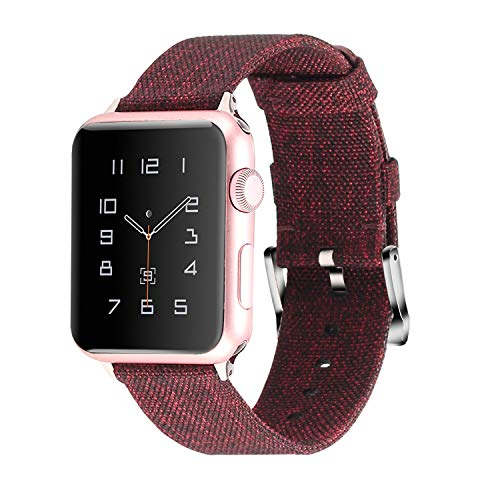Moretek iWatch Woven Bands 42mm 44mm, Soft Men Women Accessories Replacement Wristband Compatible for Apple Watch, Series 4 3 2 1,Sport, Edition (Woven Chocolate, 44mm/42mm)