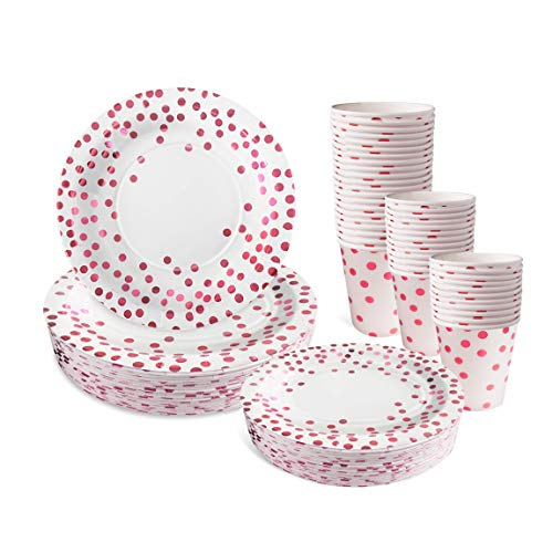Disposable Pink Paper Plates and Cups Set for 50 - Disposable Cups, Dinner and Dessert Plates - Pink Plates Perfect for Bridal Shower, Baby Shower, Gender Reveal, Girls Birthday, or Bachelorette! ()