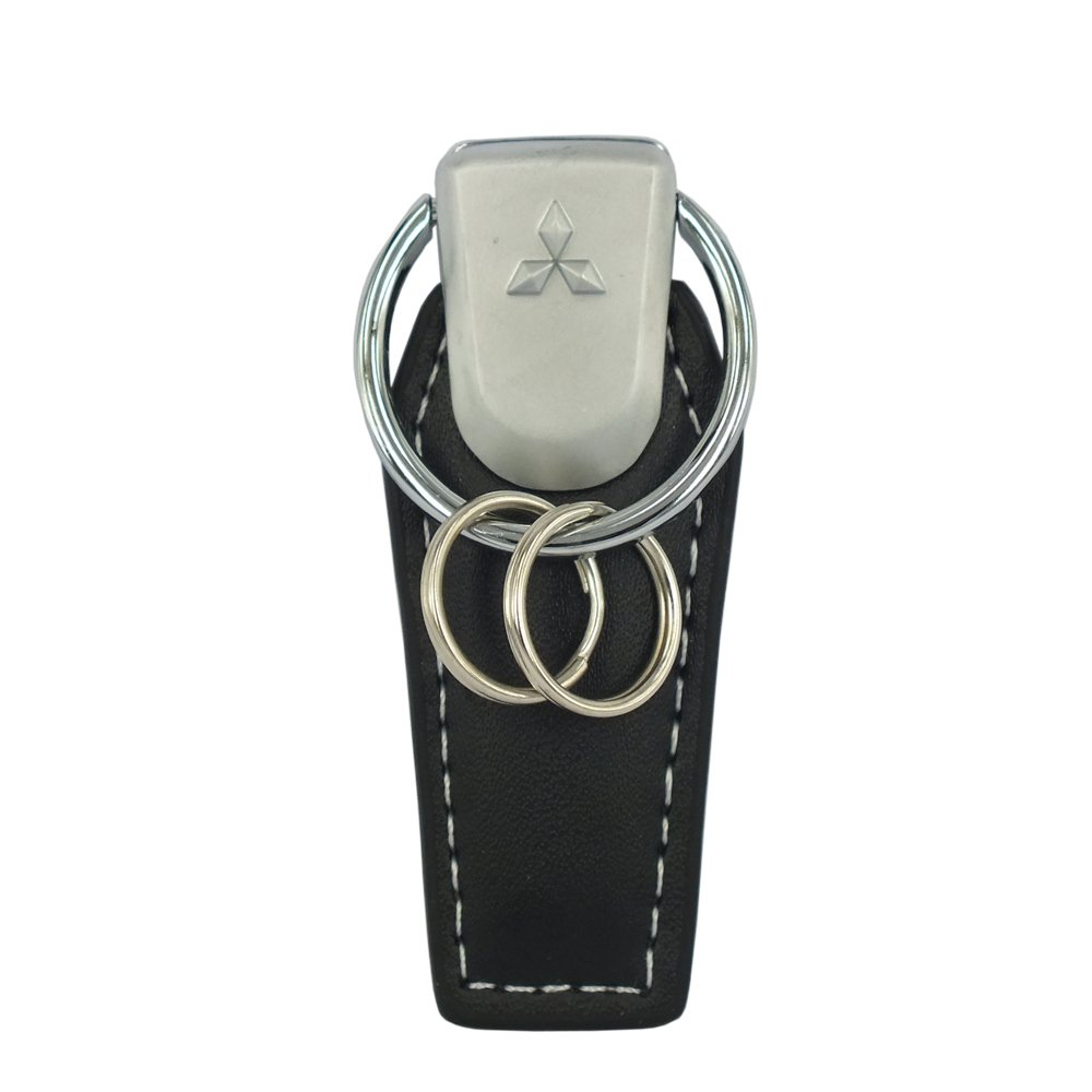 Concept New Black Quality Leather Strap Attachable Key Chain Double Ring Fit Use For Mitsubishi Model Car Auto Key Accessories