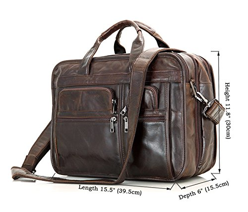 MUMUWU Men's Briefcase Leather Tote Bag Crossbody Bag Business Bag Leather Men's Bag Men's Briefcase Backpack (Color : Brown, Size : L)
