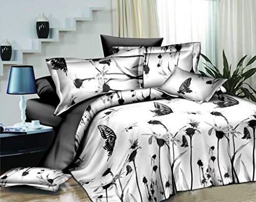 Swanson Beddings Elegant Butterflies 3-Piece Bedding Set: Duvet Cover and Two Pillow Shams (King)