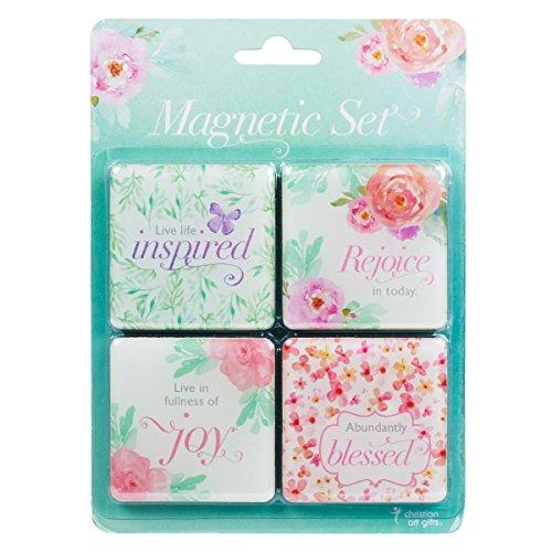 Christian Art Gifts Magnet Set - Floral Inspirations - Set of 4