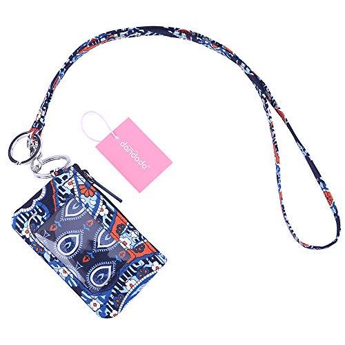 dandodo Card Holder ID Case Badge Neck Strap Lanyard (006Navy) (Lanyard Wallet)