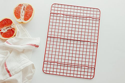 Astra Gourmet Cross-Wire Grid Cooling Rack, Wire Pan Grate, Baking Rack, Icing Rack, Rectangle Shape, 6-Raised Feet, Full Size - 12 x 8 Inches