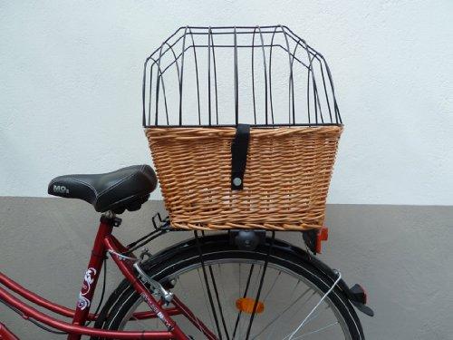 Tigana - Hundefahrradkorb für Gepäckträger aus Weide 44 x 34 cm mit Metallgitter und Kissen eckig Tierkorb Hinterradkorb Hundekorb für Fahrrad