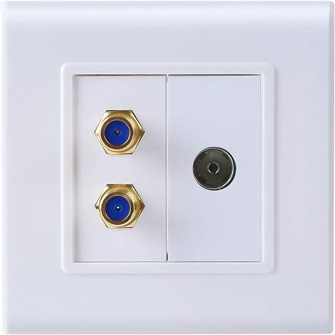 Teninyu - Antena de TV y toma de corriente tipo F (satelite), color dorado