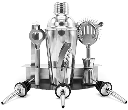 Sorbus Cocktail Shaker and Mixing Set - Deluxe 10 Piece Bar Tool Set: Bottle Opener, Cork Screw, Ice Tong, Measuring Jigger, Strainer, Liquor Pourers, on Display Stand (Cocktail Shaker Set 3 Piece)