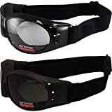 Red Baron Motorcycle Aviator 2 Goggles For Day and Night Use Super Dark Lens and Clear Lens