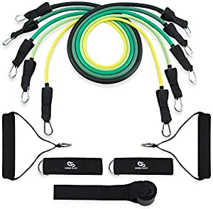 Coresteady Resistance Bands Set | 5 Premium Quality Resistance Tubes | Workout Bands for CrossFit | Stretch Mobility Exercise | Men & Women | Includes Door Anchor, Handles, Ankle Straps & Travel Bag (Colour Set 1)