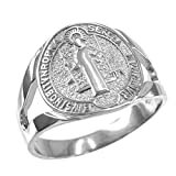 925 Sterling Silver Saint Benedict Medallion Ring (Size 4.25)
