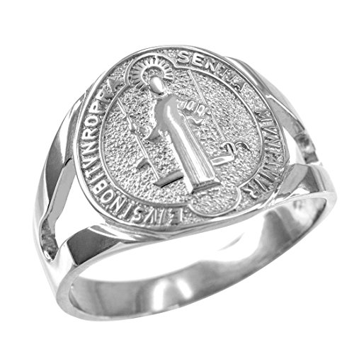 - Religious Jewelry by LABLINGZ 925 Sterling Silver Saint Benedict Medallion Ring (Size 9)