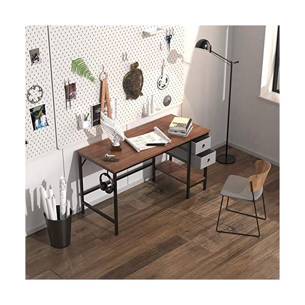 HOMIDEC Bureau d'ordinateur,Table de Bureau avec tiroirs Bureau d'écriture d'étude pour la Maison avec étagères de…