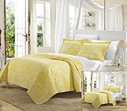 Perfect Home 3 Piece Pastola REVERSIBLE printed Quilt Set. Front a traditional pattern and Reverses into a houndstooth pattern, Queen, Yellow