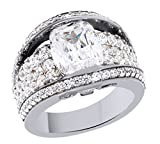White Cubic Zirconia Engagement & Wedding Bridal Ring Set In 14K Gold Over Sterling Silver (5.71 Cttw)