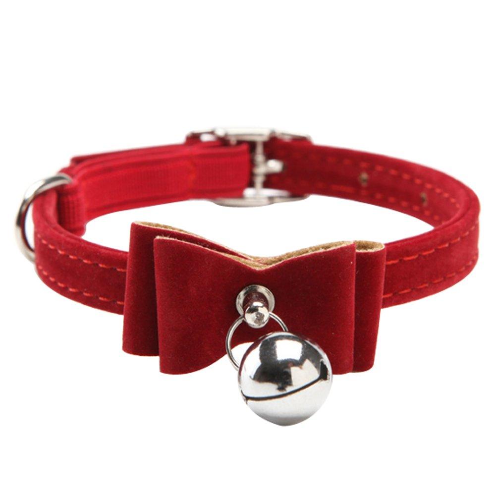 Sobotoo exquis réglable pur Couleur Nœud–Cravate Flocage Collier Bells Bell Charm pour petits chiens Chiot Chats Chaton