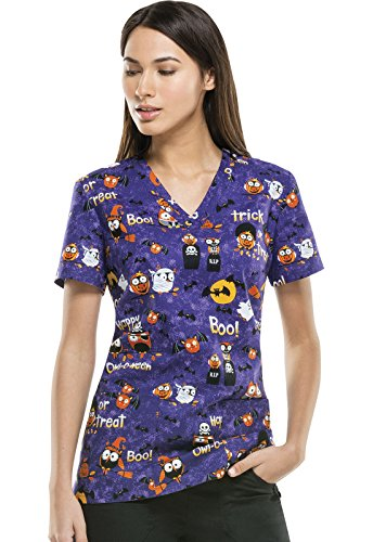 Dickies V-Neck Top | Happy Owl-o-ween Size M