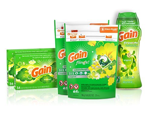 Price comparison product image Gain Laundry Bundle: Gain Flings Laundry Detergent Pacs (2x35ct),  Gain Dryer Sheets (2x34ct),  Gain Fireworks Laundry Scent Booster Beads (14.8 oz)