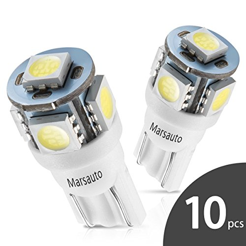 Marsauto 194 LED Light Bulb 6000K 168 T10 2825 5SMD LED Replacement Bulbs for Car Dome Map Door Courtesy License Plate Lights (Pack of 10) - Cole Signature Cord