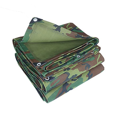 QIANDING Waterproof Tarpaulin Military Camouflage Tarpaulin Overlay Heavy Duty Waterproof Outdoor Canvas Tent Stitching Awning Sunscreen Tarpaulin Covering The Ground Trailer Tent (Size : ()