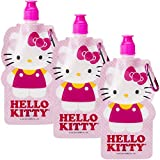 Zak! Hello Kitty (3 Pack) 16oz Collapsible Kids Water Bottles with Clips Sanrio Reusable
