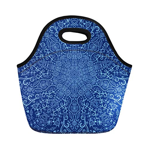 Tinmun Lunch Tote Bag Mandala Ornamental Lace Pattern Circle Many Details Looks Like Reusable Neoprene Bags Insulated Thermal Picnic Handbag for Women Men - Ornamental Lace Pattern