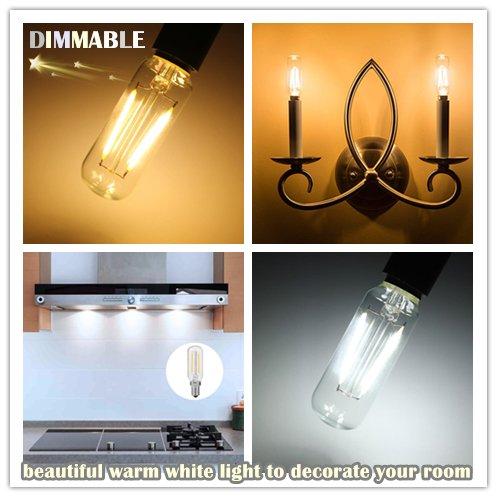 KunstDesign LED Candelabra Bulb 4W 6Pack LED Bulbs Dimmable 3000K Warm White Bulb with 400 Lumen, E12 LED Bulb Candelabra Base 40 Watt Equivalent T25 Tubular Bulbs Shape by KunstDesign (Image #3)