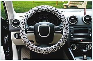 ADream Leopard Print Peluche Couverture De Volant De Voiture Confort Durabilité Sécurité Respirant Anti-Slip Couverture De Volant De Voiture Manches De Roue Protector_ (Gris)